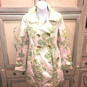 Pink print trench mac jacket! Super elegant! Sz M